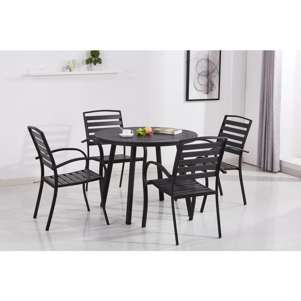Modern Dining Set Modern Contemporary Black 5 Piece Metal Round Outdoor Dining Set With Slatted Faux Wood And Stackable Chairs