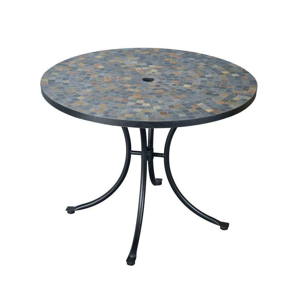 Round Table Tops Home Styles Stone Harbor 40 In Round Slate Tile Top Patio Dining Table