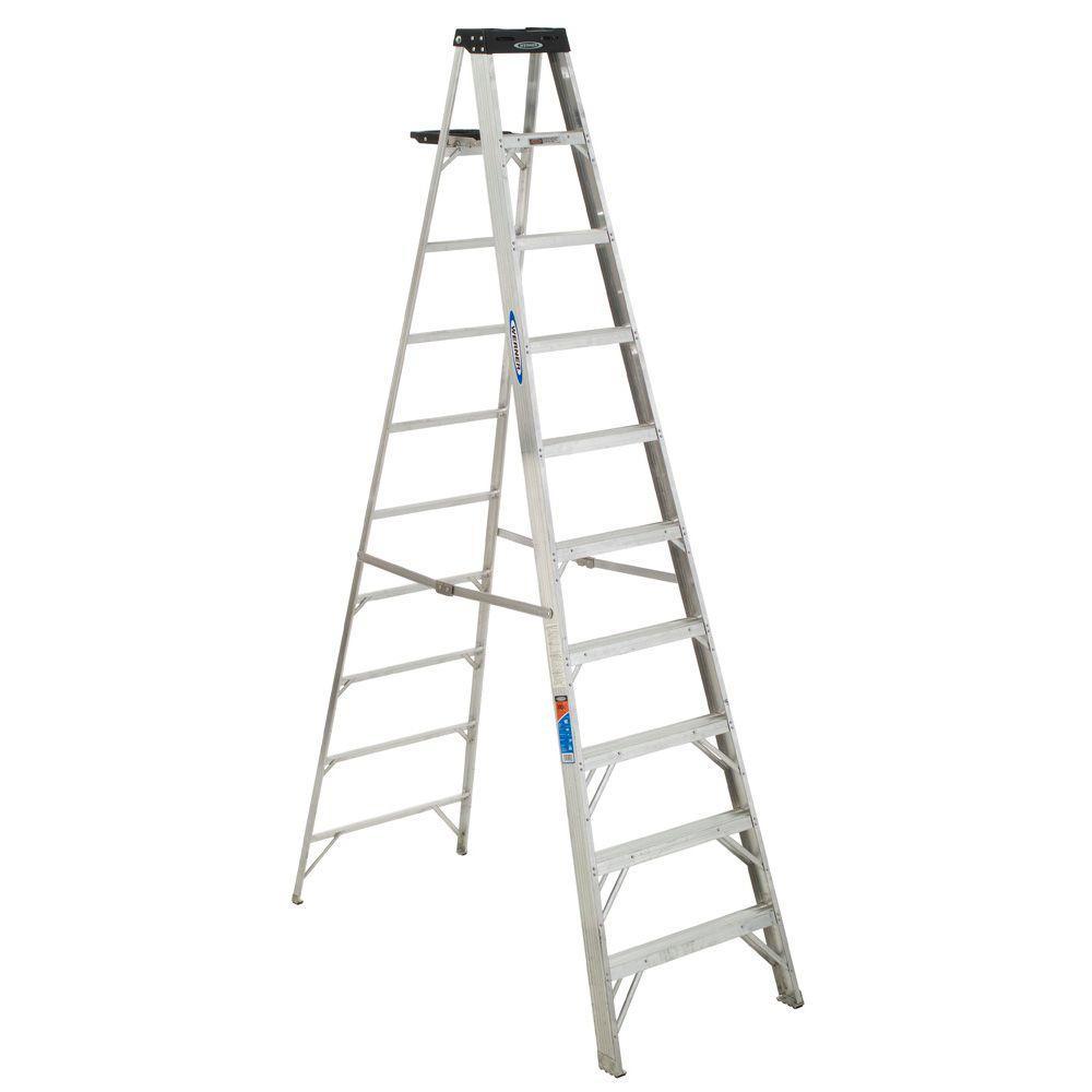Werner 10 Ft Aluminum Step Ladder With 300 Lb Load