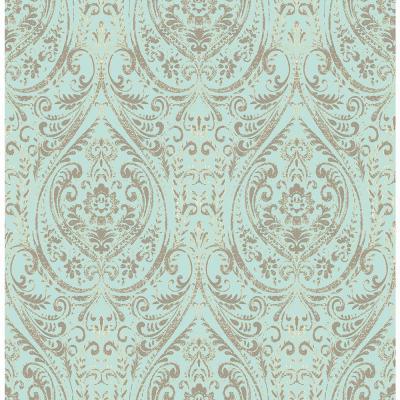 NuWallpaper Blue Nomad Damask Peel and Stick Wallpaper-NU2079 - The Home Depot