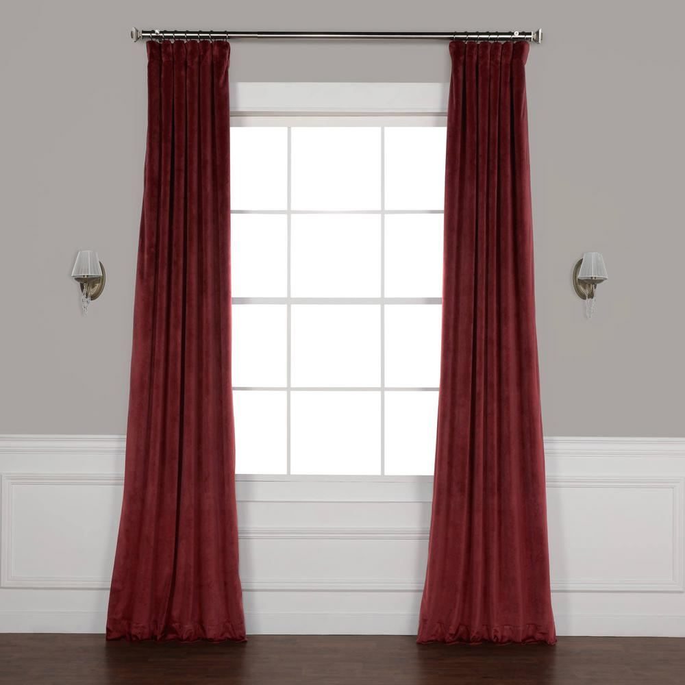 Dark Red Blackout Curtains Exclusive Fabrics Furnishings Dark Merlot Red Plush Velvet Curtain 50 In W X 108 In L