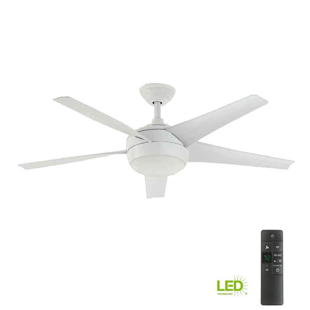 White Home Home Decorators Collection Windward Iv 52 In Led Indoor Matte White Ceiling Fan With Light Kit And Remote Control