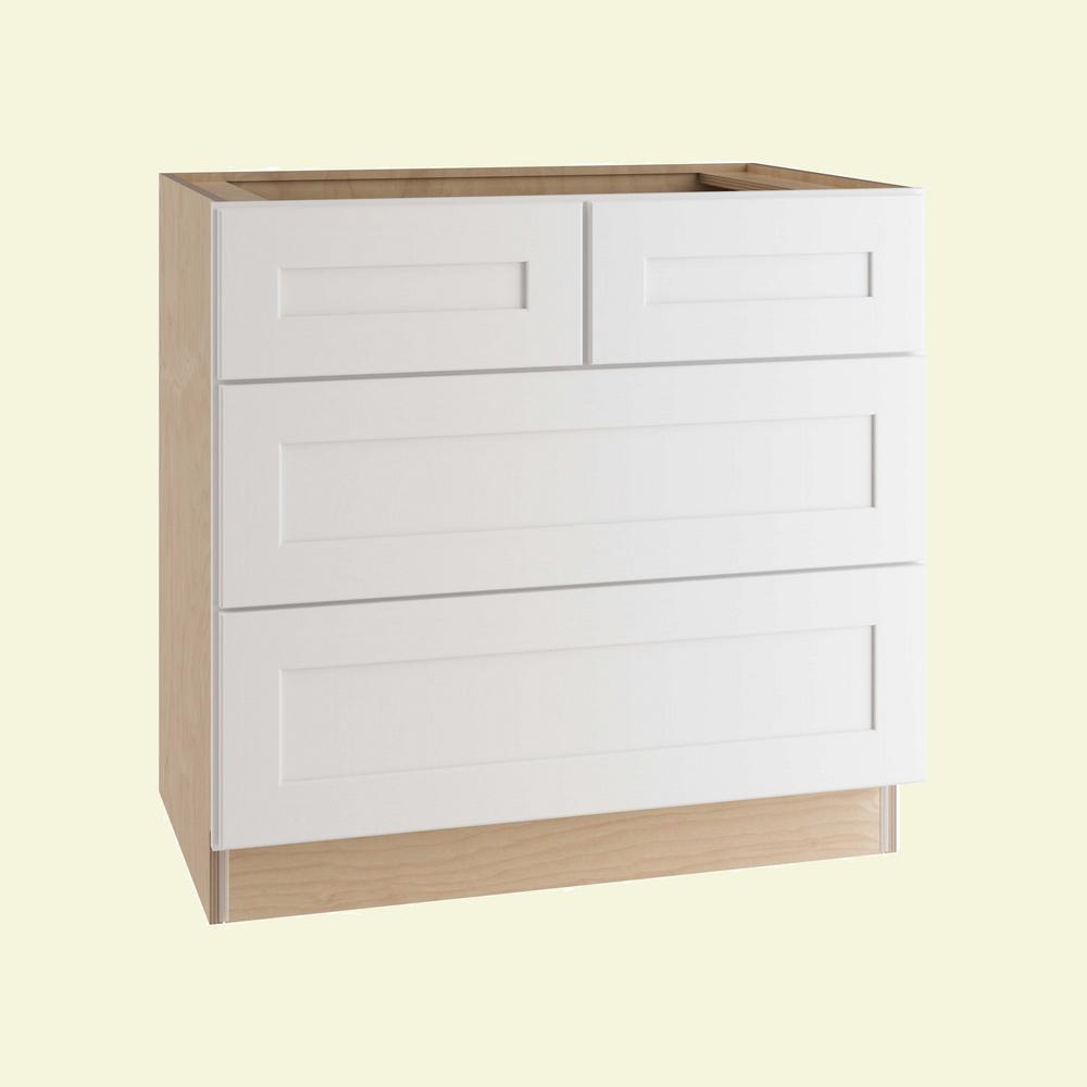 Cabinet Drawers Home Decorators Collection Newport Assembled 36 In X 34 5 In X 24 In Cooktop Base Kitchen Cabinet With False Top Drawer In Pacific White
