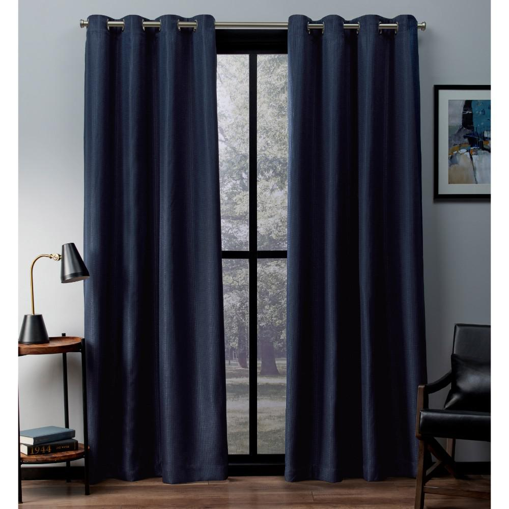 Teal Blackout Curtains Eglinton 52 In W X 96 In L Woven Blackout Grommet Top Curtain Panel In Teal 2 Panels