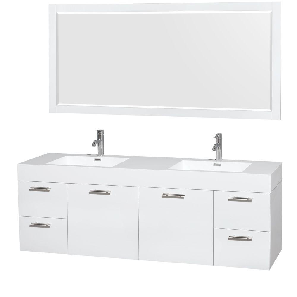 Wall Mount Double Vanity Wyndham Collection Amare 72 In Double Vanity In Glossy White With Acrylic Resin Vanity Top In White Integrated Sinks And 70 In Mirror