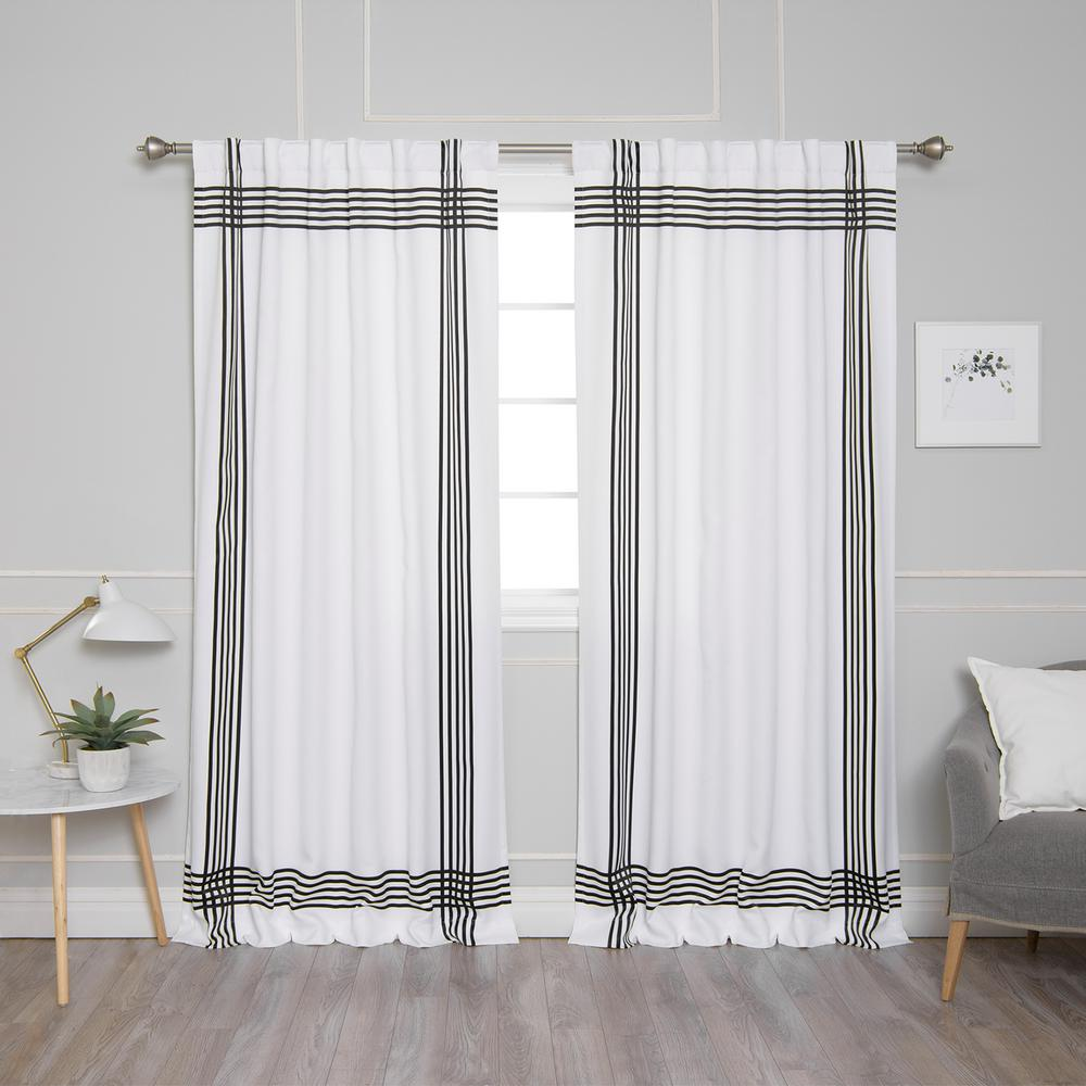 Black Stripe Curtains Best Home Fashion White Room Darkening Cross Stripe Nordic Curtain 52 In W X 84 In L 2 Pack