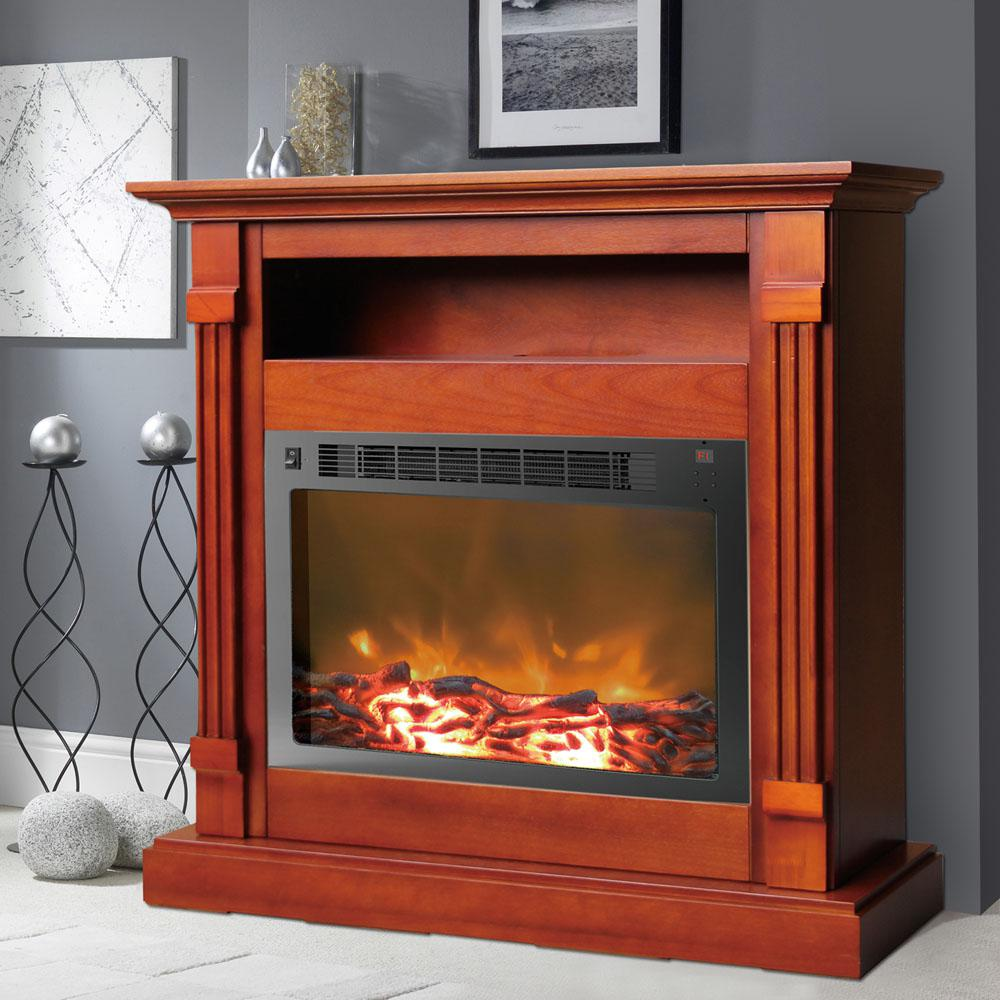 Cherry Fireplace Mantels Cambridge Sienna 34 In Electronic Fireplace Mantel With Insert In Cherry