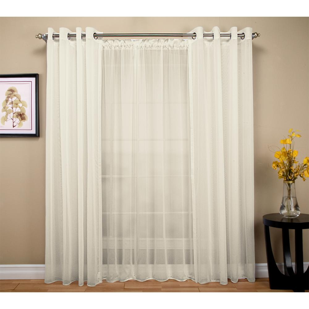 Curtain For Double Window Ricardo Trading Tergaline 108 In W X 84 In L Double Wide Sheer Rod Pocket Window Panel In Ivory