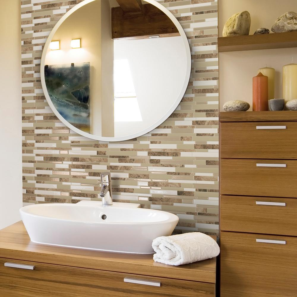 Smart tiles milano sasso 11 55 in w x 9 65 in h peel and stick decorative mosaic wall tile backsplash 12 pack sm1088 12 the home depot