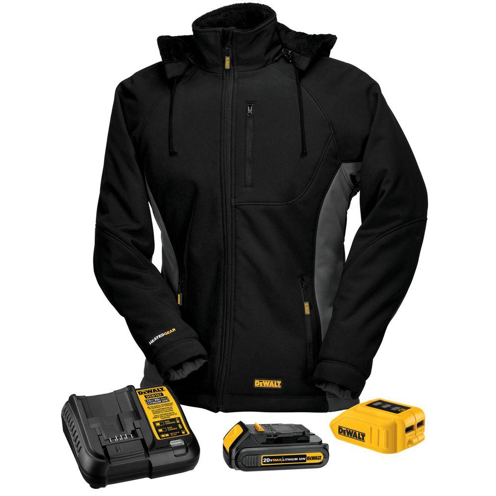 Heated Vest Canada Dewalt Women S Medium Black 20 Volt Max Heated Hooded Jacket Kit With 20 Volt Lithium Ion Max Battery And Charger