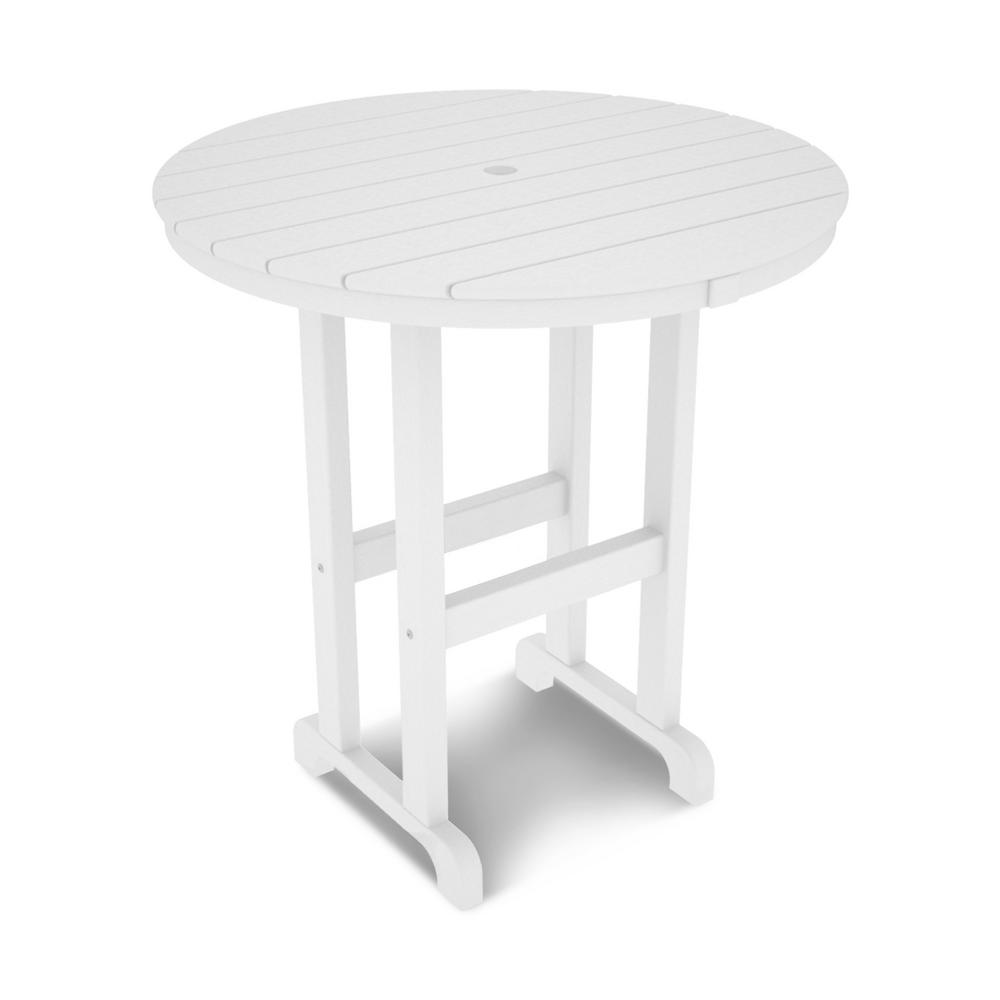 Round Plastic Tables Polywood La Casa Cafe 36 In White Round Plastic Outdoor Patio Counter Table