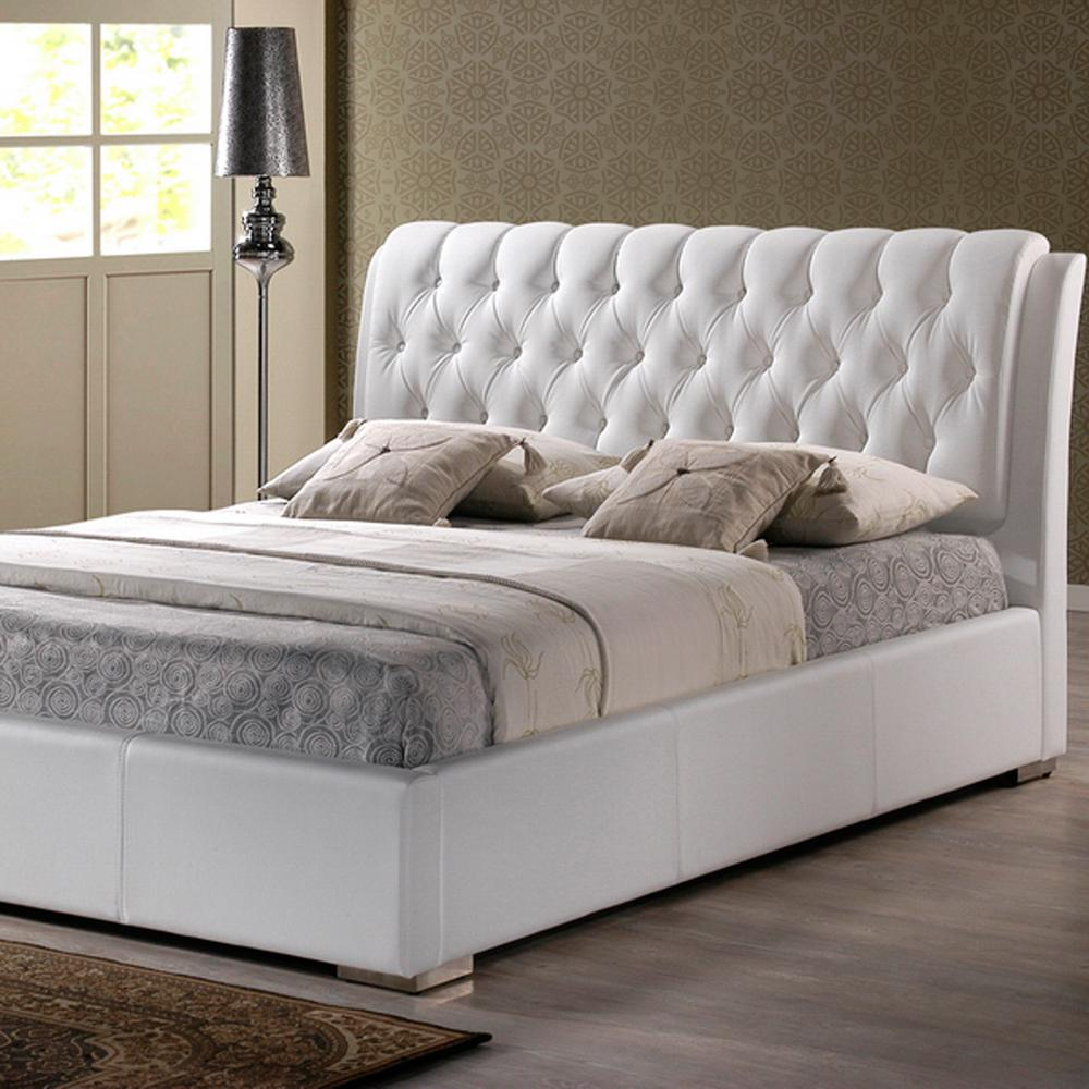 Leather Bed Baxton Studio Bianca Transitional White Faux Leather Upholstered King Size Bed