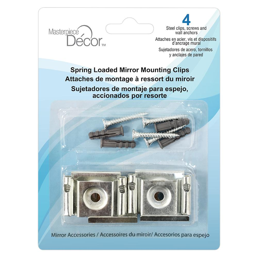 Frameless Mirror Mounting Kit Masterpiece Decor Spring Loaded Mirror Mounting Clips 4 Pack