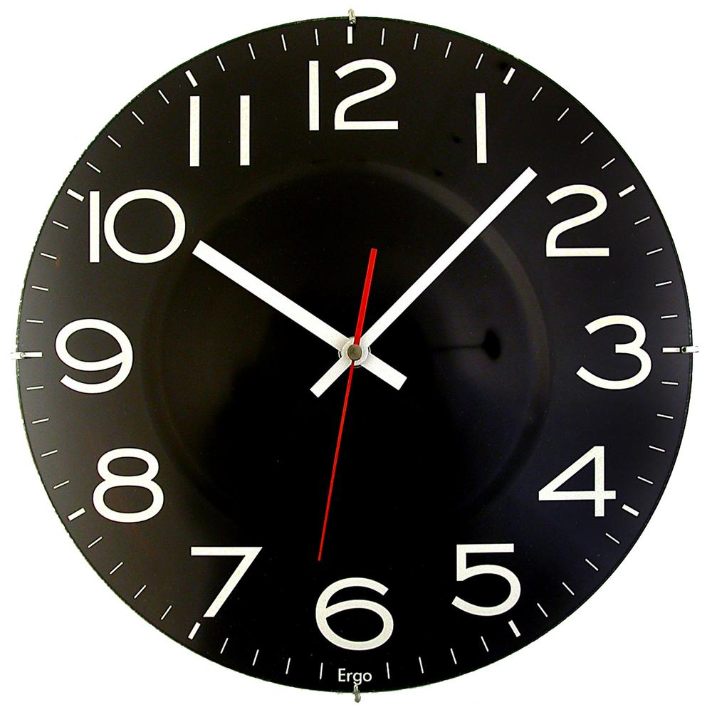 Black Wall Clock 11 1 2 In Black Wall Clock With Quartz Movement
