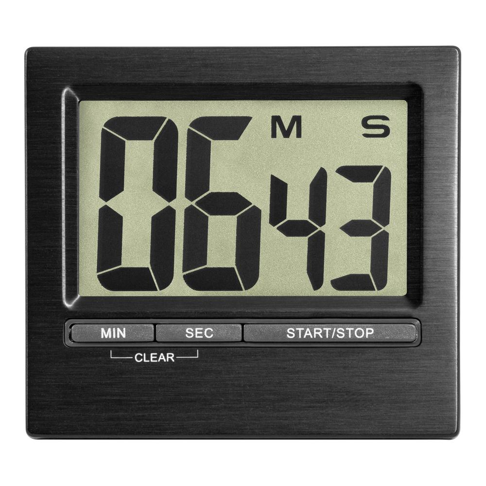Alarm Timer Tfa 3 In Square Black Indoor Station With Digital Countdown Timer And Stopwatch