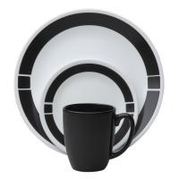 Corelle Livingware Urban Black 16-Piece Vitrelle ...