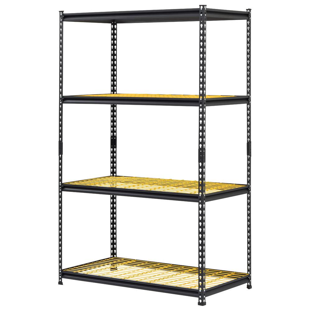 Garage Shelving Units Muscle Rack 24 In D X 44 In W X 72 In H Black Yellow Steel 4 Tier Garage Shelving Unit