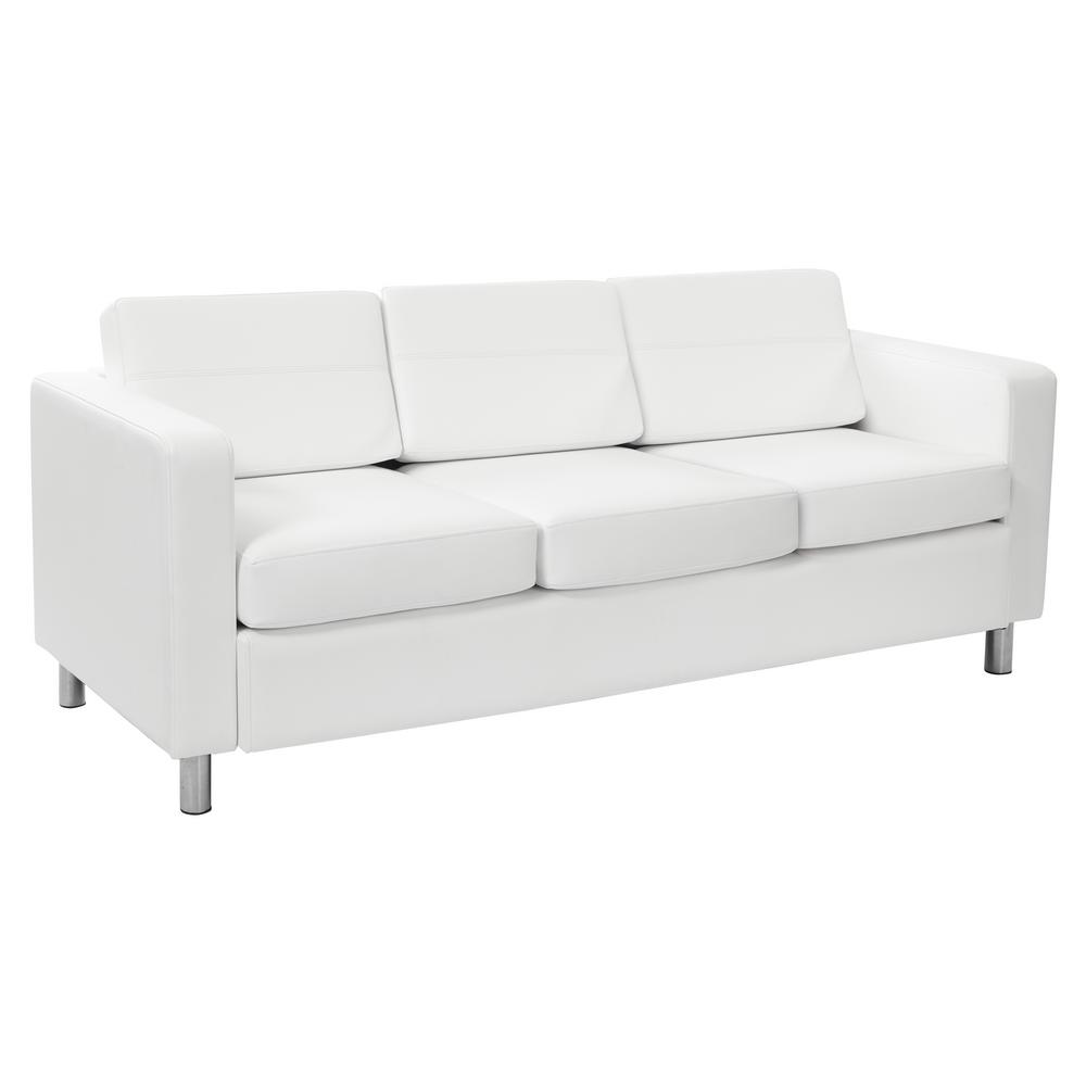 Home Sofa In A Box Osp Home Furnishings Pacific Dillon Snow Vinyl Sofa Couch With Box Spring Seats And Silver Color Legs