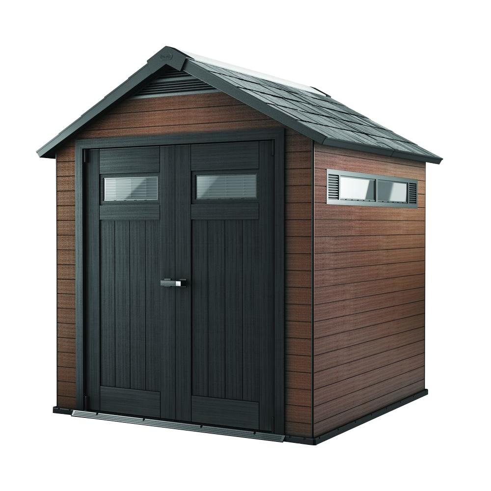Home Depot Sheds For Sale Keter Fusion 7 5 Ft X 7 Ft Wood And Plastic Composite Shed