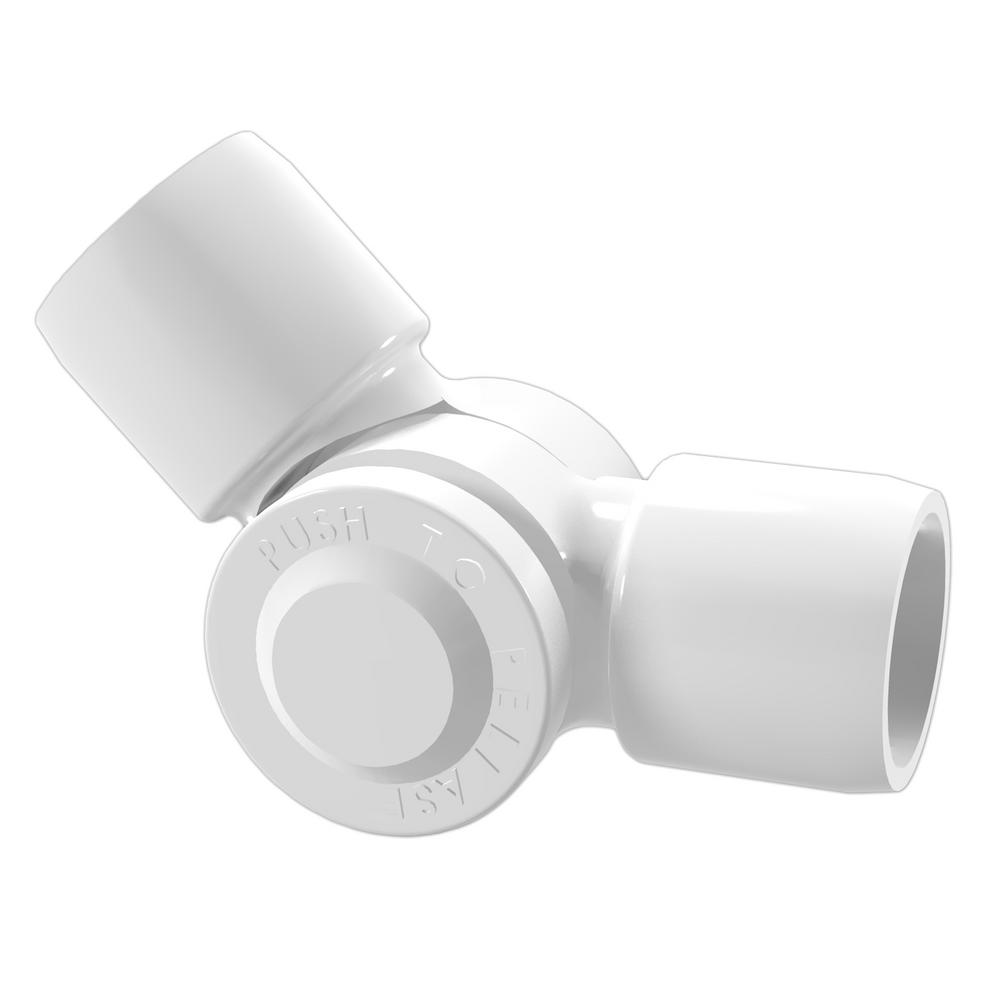 Pvc Joints Formufit 3 4 In Furniture Grade Pvc External 2 Way Adjustable Fitting In White 2 Pack