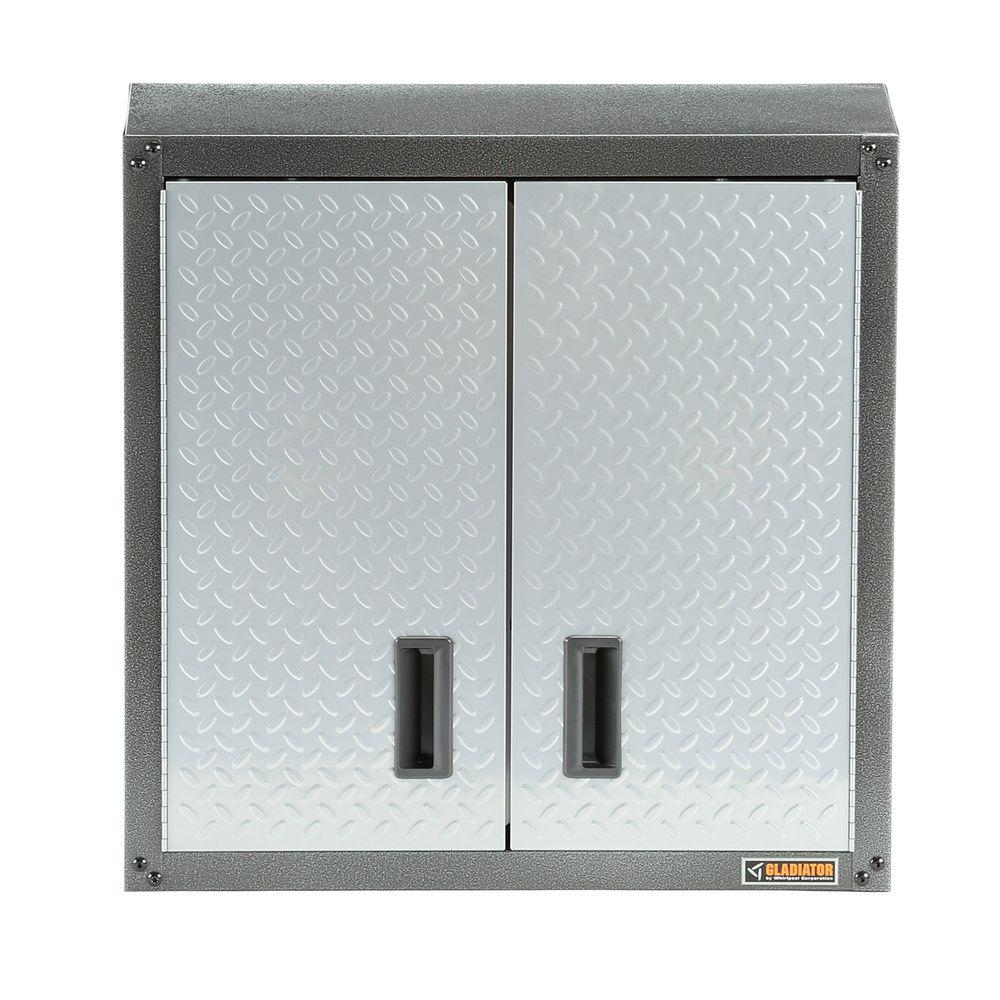 Garage Cabinets Texas Gladiator Ready To Assemble 28 In H X 28 In W X 12 In D Steel Garage Wall Cabinet In Silver Tread