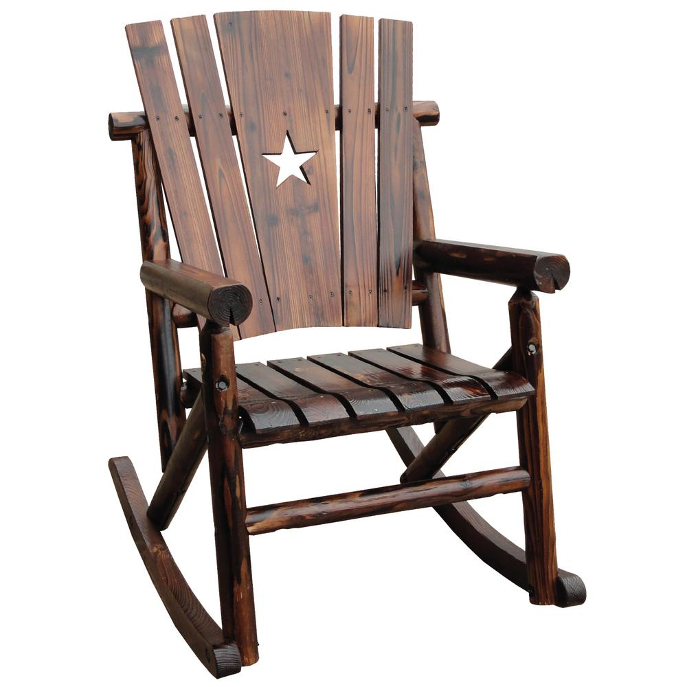 Patio Rocker Chairs Leigh Country Char Log Patio Rocking Chair With Star