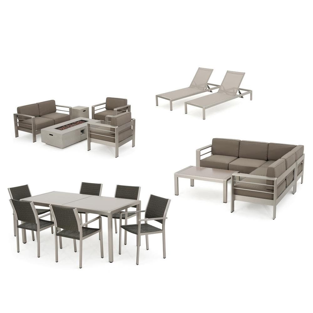 Dining Lounge Noble House Cape Coral 18 Piece Metal And Wicker Patio Fire Pit Dining Lounge Sectional And Conversation Set With Khaki Cushions