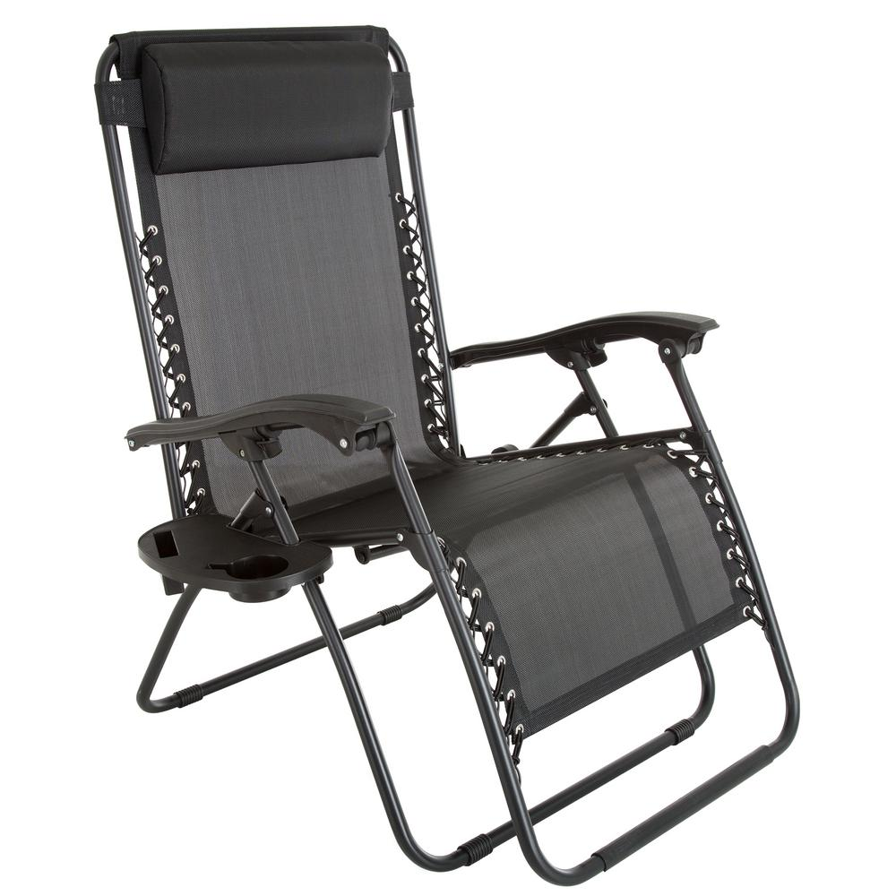 Chairs Comfortable Pure Garden Oversized Zero Gravity Patio Lawn Chair In Black