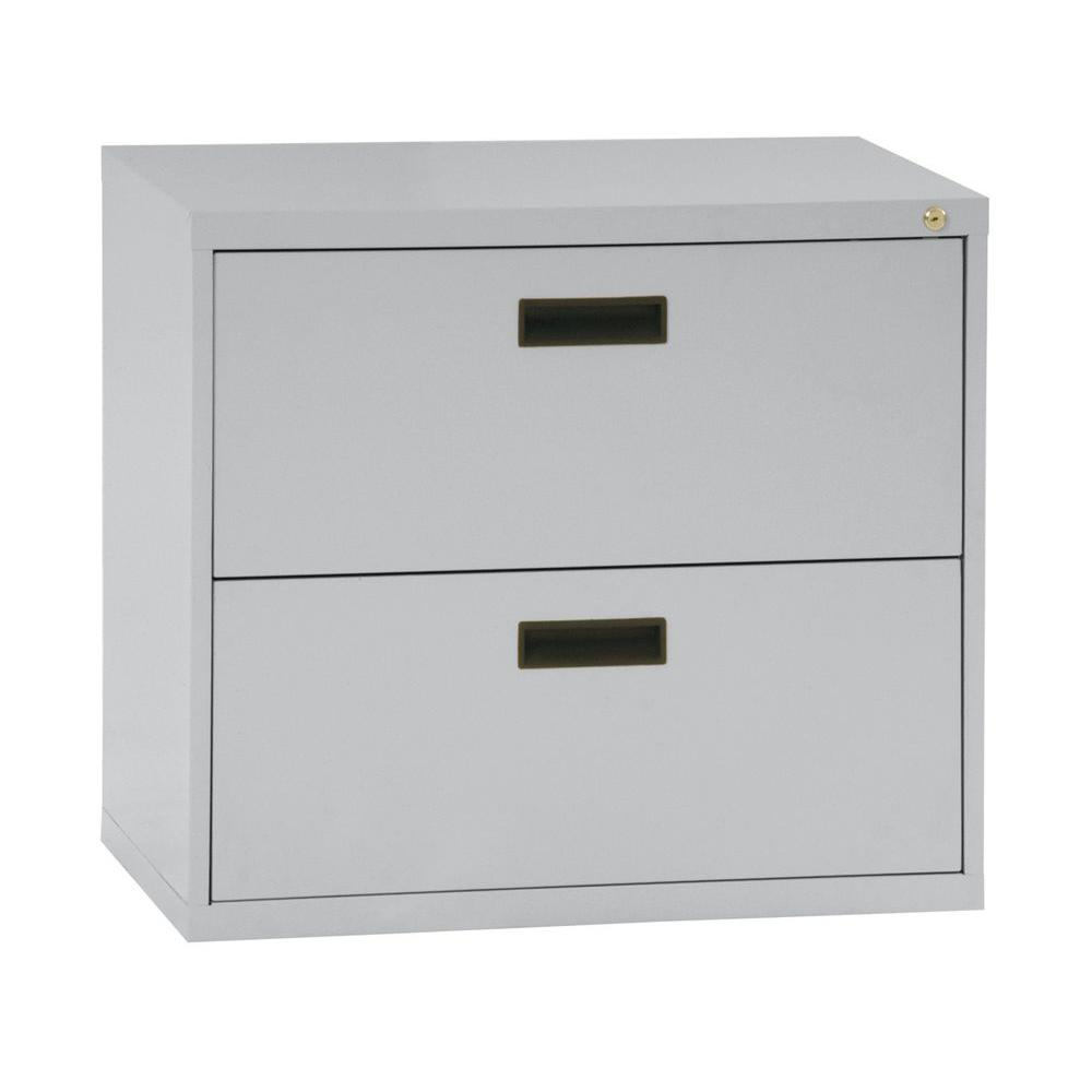Horizontal File Cabinet Sandusky 400 Series 26 6 In H X 30 In W X 18 In D 2 Drawer Dove Grey Lateral File Cabinet