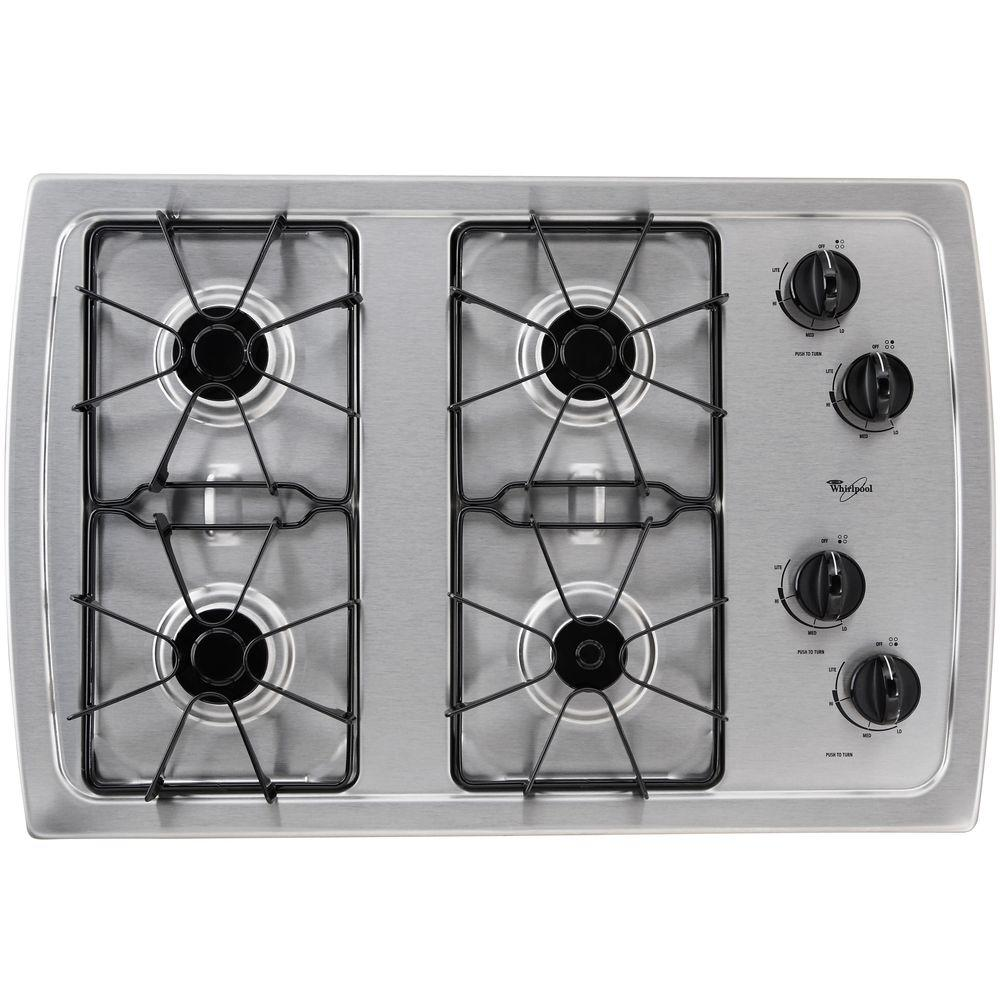 Whirlpool Countertop Stove Whirlpool 30 In Gas Cooktop In Stainless Steel With 4 Burners