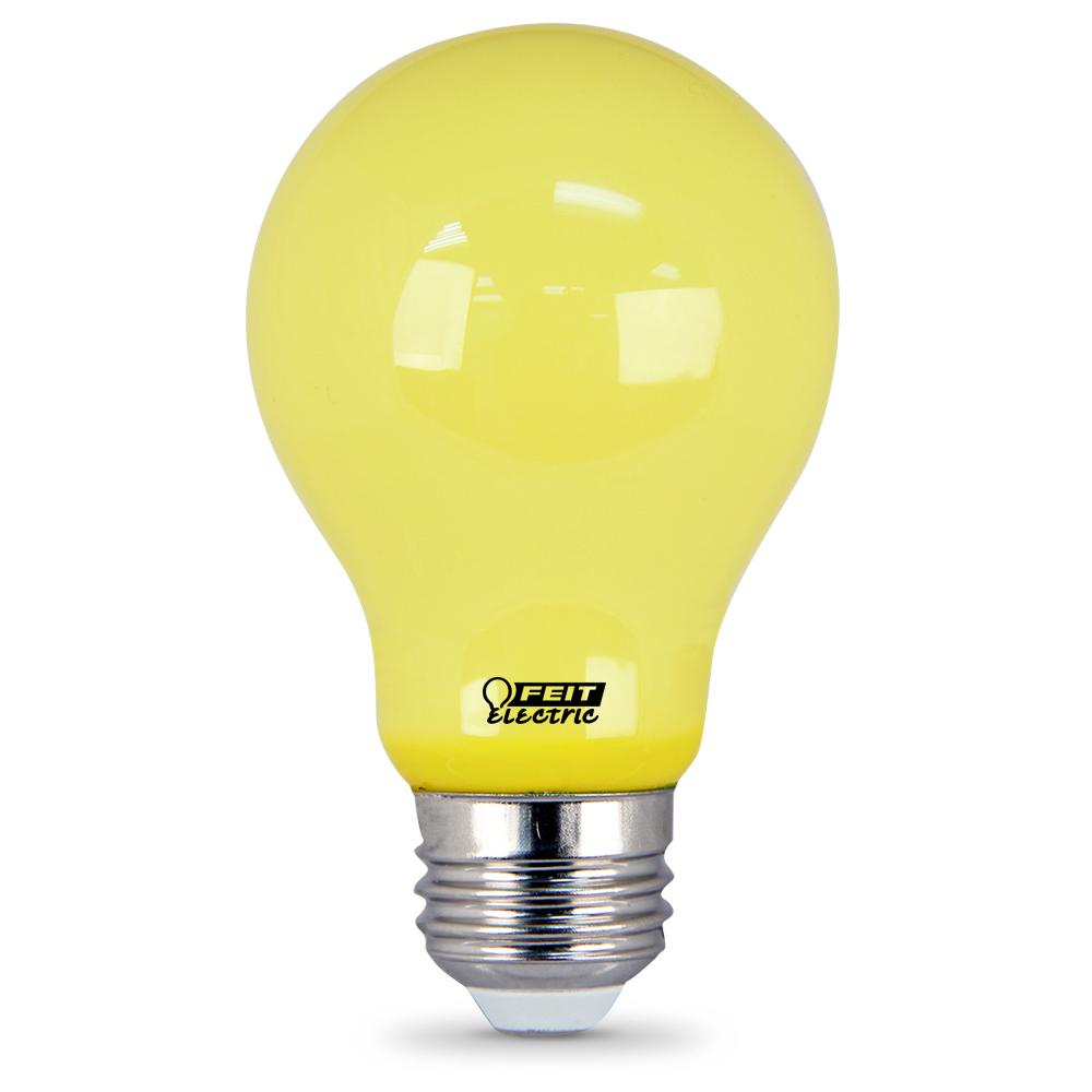 5 Watt Led Feit Electric 5 Watt A19 60 Watt Equivalent Medium E26 Base Non Dimmable Yellow Colored Led Bug Light Bulb