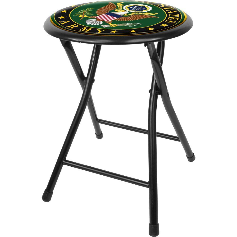 Table And Bar Stools Trademark U S Army Symbol 18 In Black Cushioned Folding Bar Stool