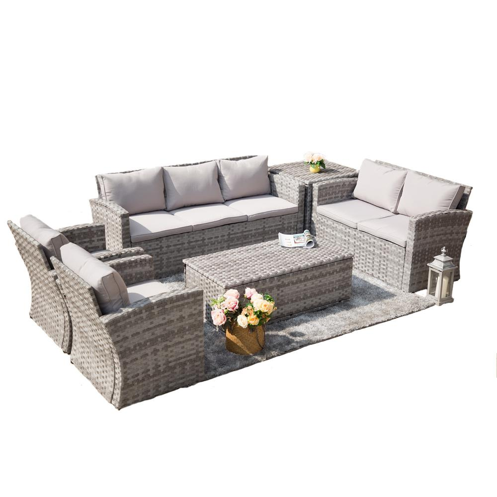 Baptist 6 Piece Rattan Sofa Set With Cushions Puerta 6 Piece Steel Wicker Patio Conversation Set With Grey Cushions