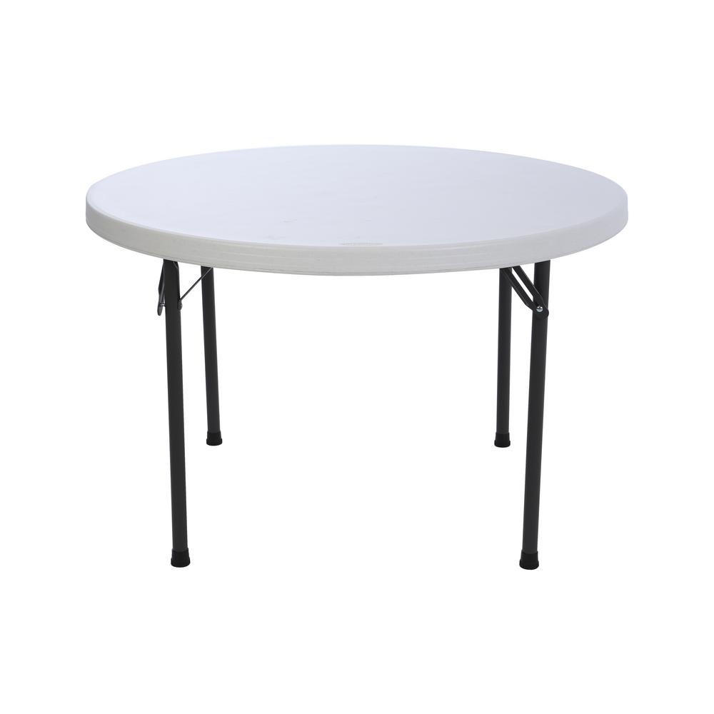 Folding Card Table Canada Lifetime 46 In White Granite Plastic Round Foldable Folding Card Table