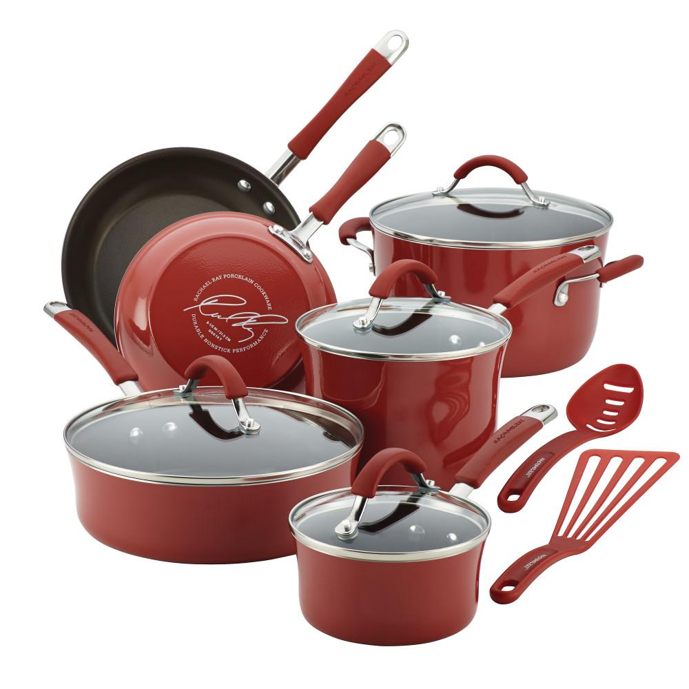 Cucina Kitchen Products Rachael Ray Cucina 12 Piece Cranberry Red Cookware Set With Lids