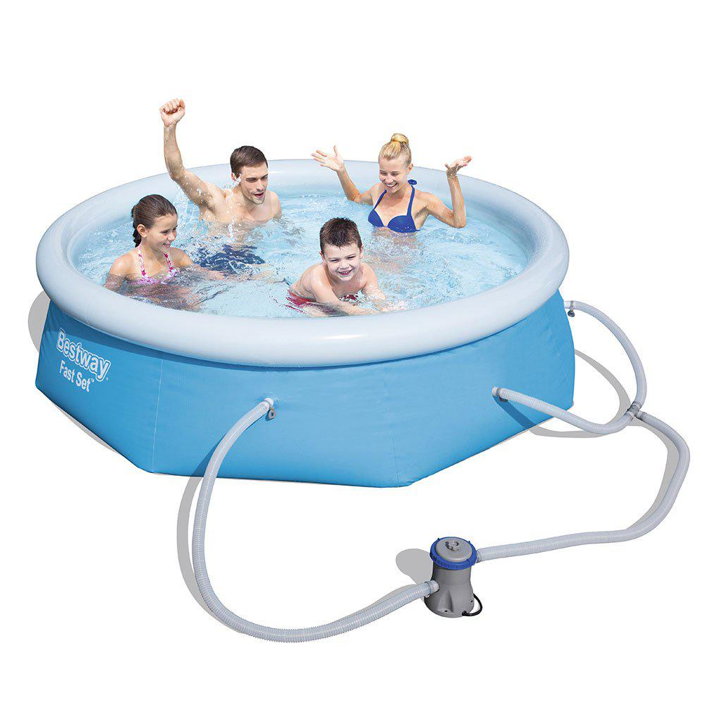 Intex Vs Bestway Review Bestway 8 Ft X 26 In Fast Set Inflatable Above Ground Swimming Pool With Filter Pump