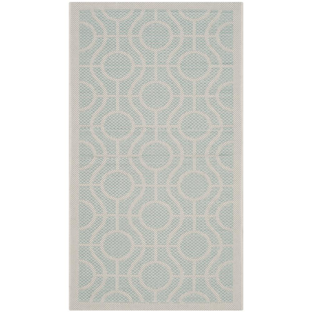 Safavieh Courtyard Safavieh Courtyard Aqua Light Gray 2 Ft X 4 Ft Indoor Outdoor Area Rug
