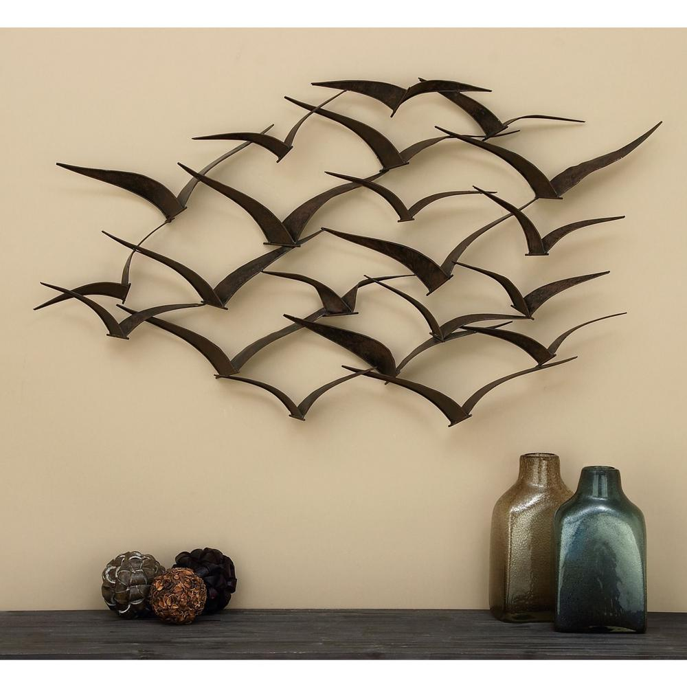 Metal Sculpture Wall Art Details About Flock Of Birds Metal Wall Sculpture In Flight 47 In Hanging Art Decoration New
