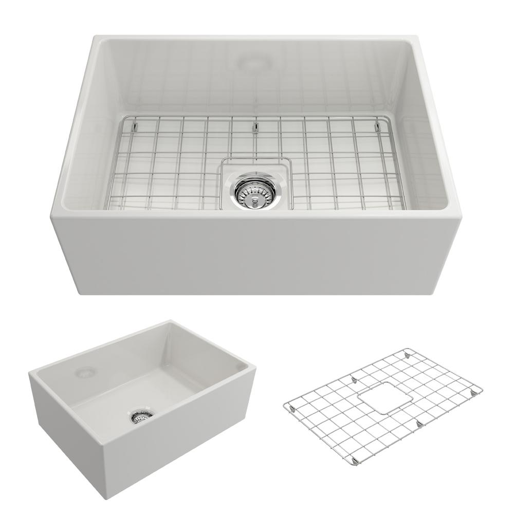 Bocchi Contempo Farmhouse Apron Front Fireclay 27 In Single Bowl Kitchen Sink With Bottom Grid And Strainer In White 1356 001 0120 The Home Depot