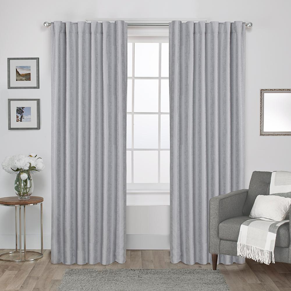 Tab Top Curtain Zeus 52 In W X 96 In L Woven Blackout Hidden Tab Top Curtain Panel In Dove Grey 2 Panels