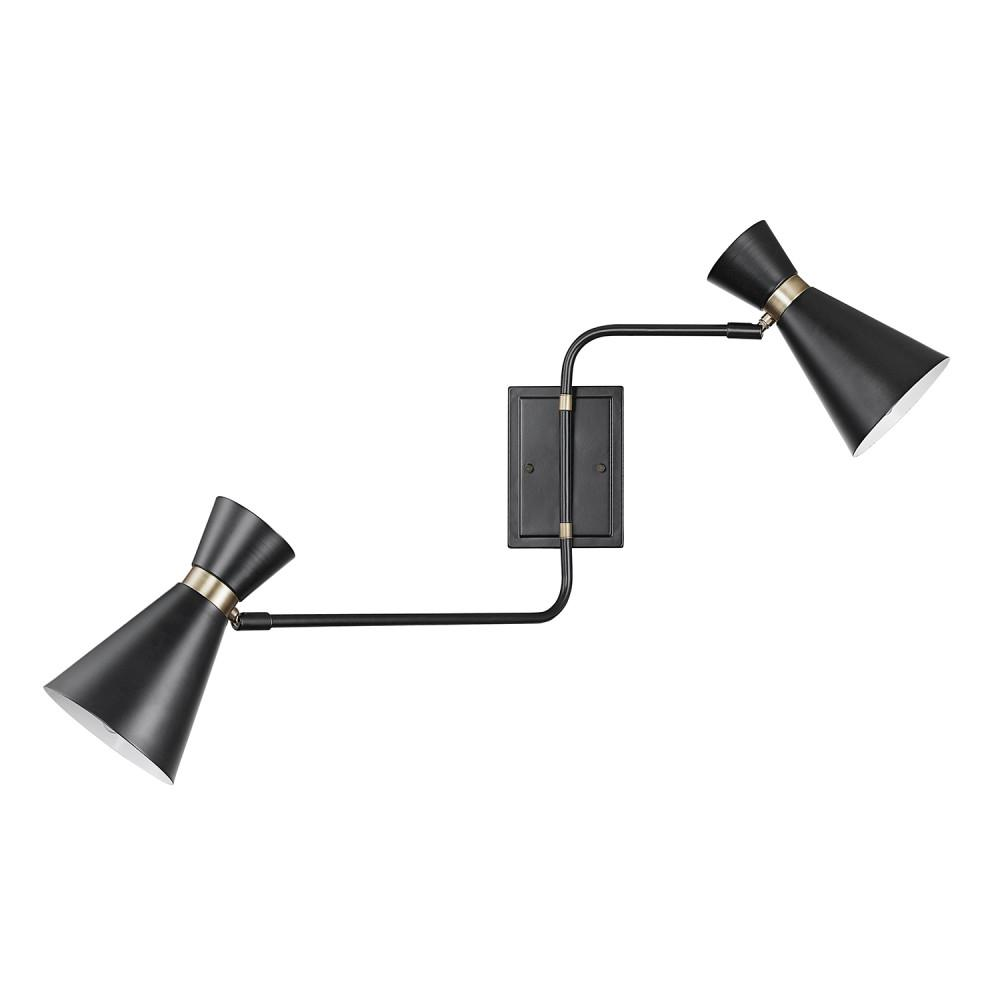 Swing Wall Lamp Globe Electric Belmont 2 Light Matte Black Swing Arm Wall Sconce