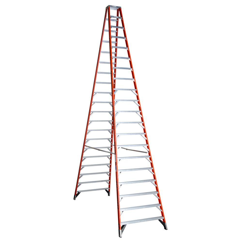 20' Ladder Home Depot Werner 20 Ft Fiberglass Twin Step Ladder With 300 Lbs Load Capacity Type Ia Duty Rating