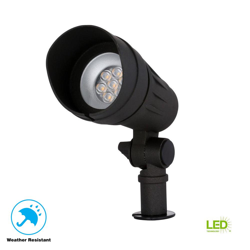 Led Spot Hampton Bay Low Voltage 50 Watt Equivalent Black Outdoor Integrated Led Landscape Spot Light