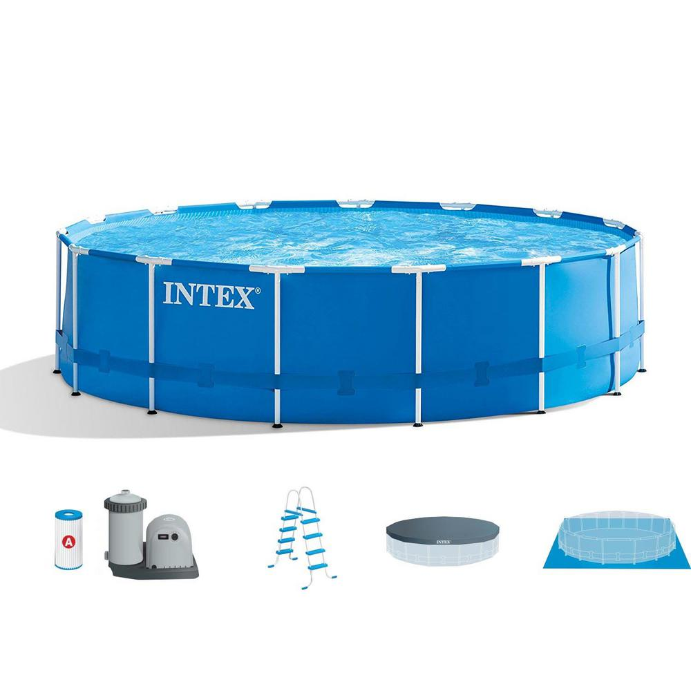 Intex Pool Frame Rund Intex 15 Ft X 48 In Metal Frame Above Ground Swimming Pool Set