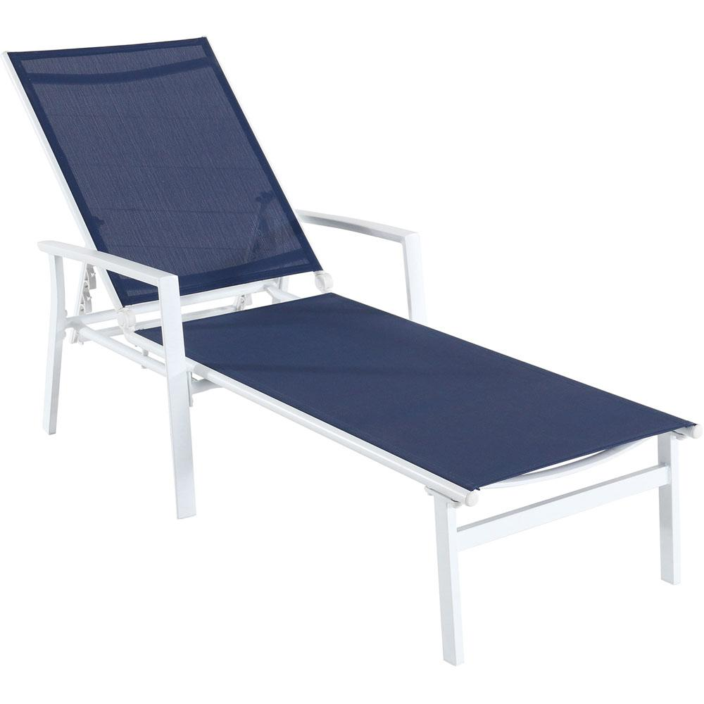 Chaise Longue Acapulco Cambridge Nova White Frame Adjustable Sling Outdoor Chaise Lounge In Navy Blue Sling
