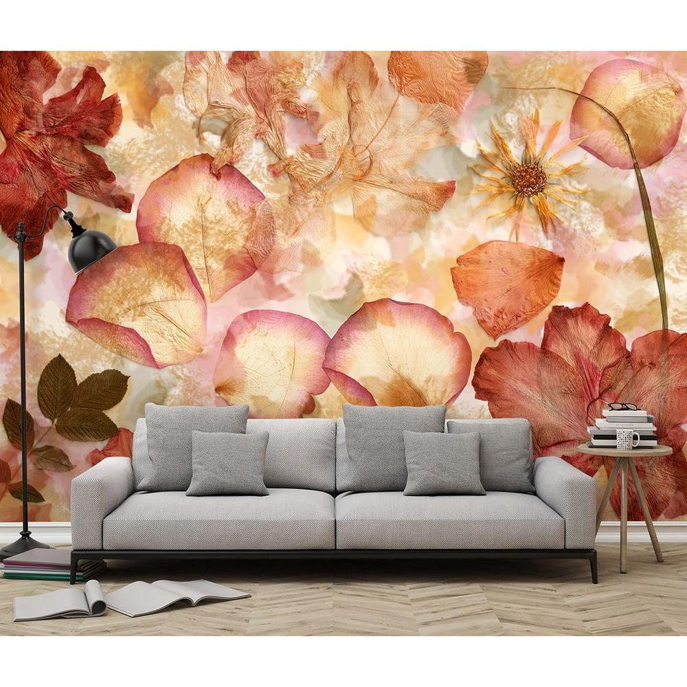 Wall Mural Ideas For Living Room 144 In W X 100 In H Dried Flowers Wall Mural
