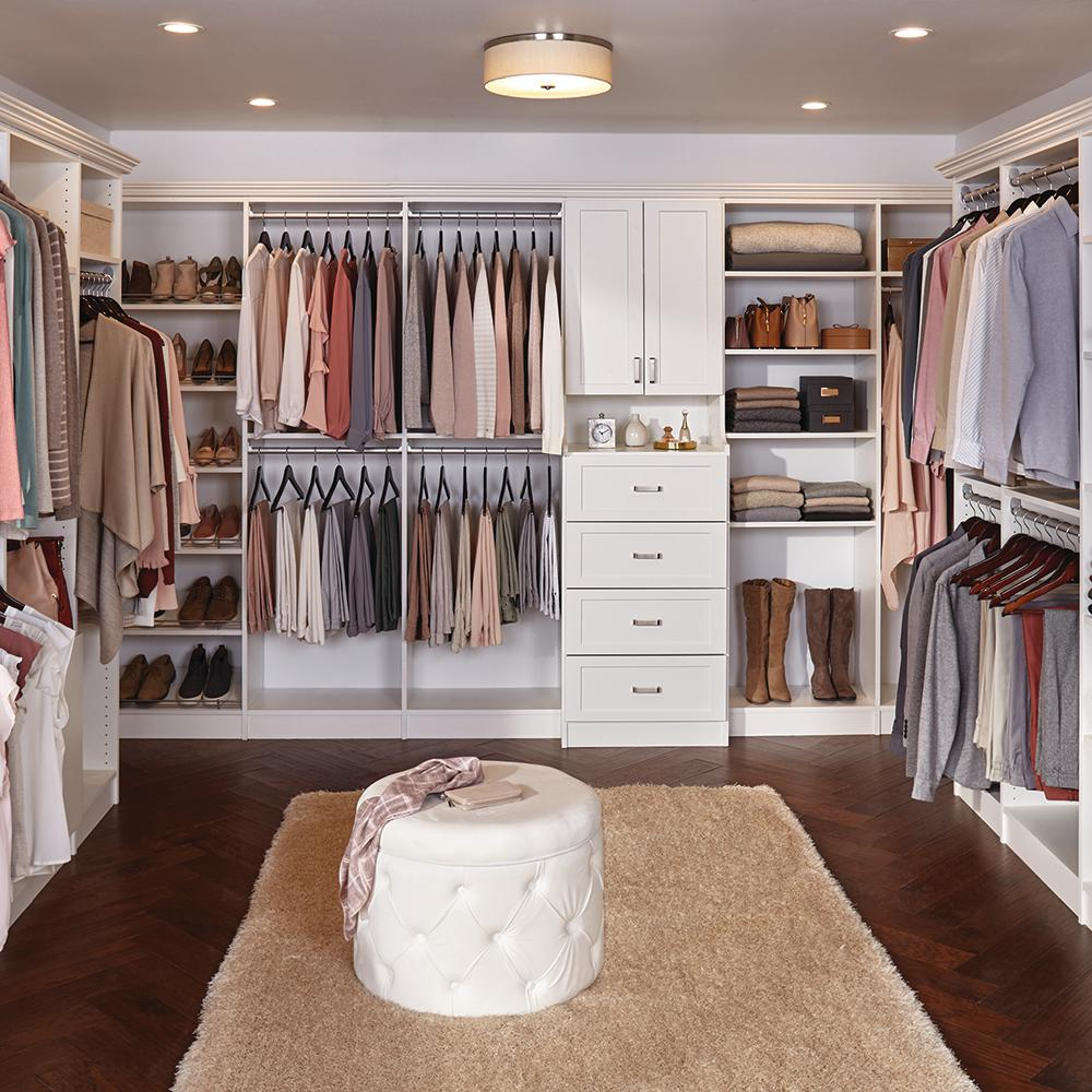 Closet Organization The Home Depot Installed Walk In Wood Closet Organization System