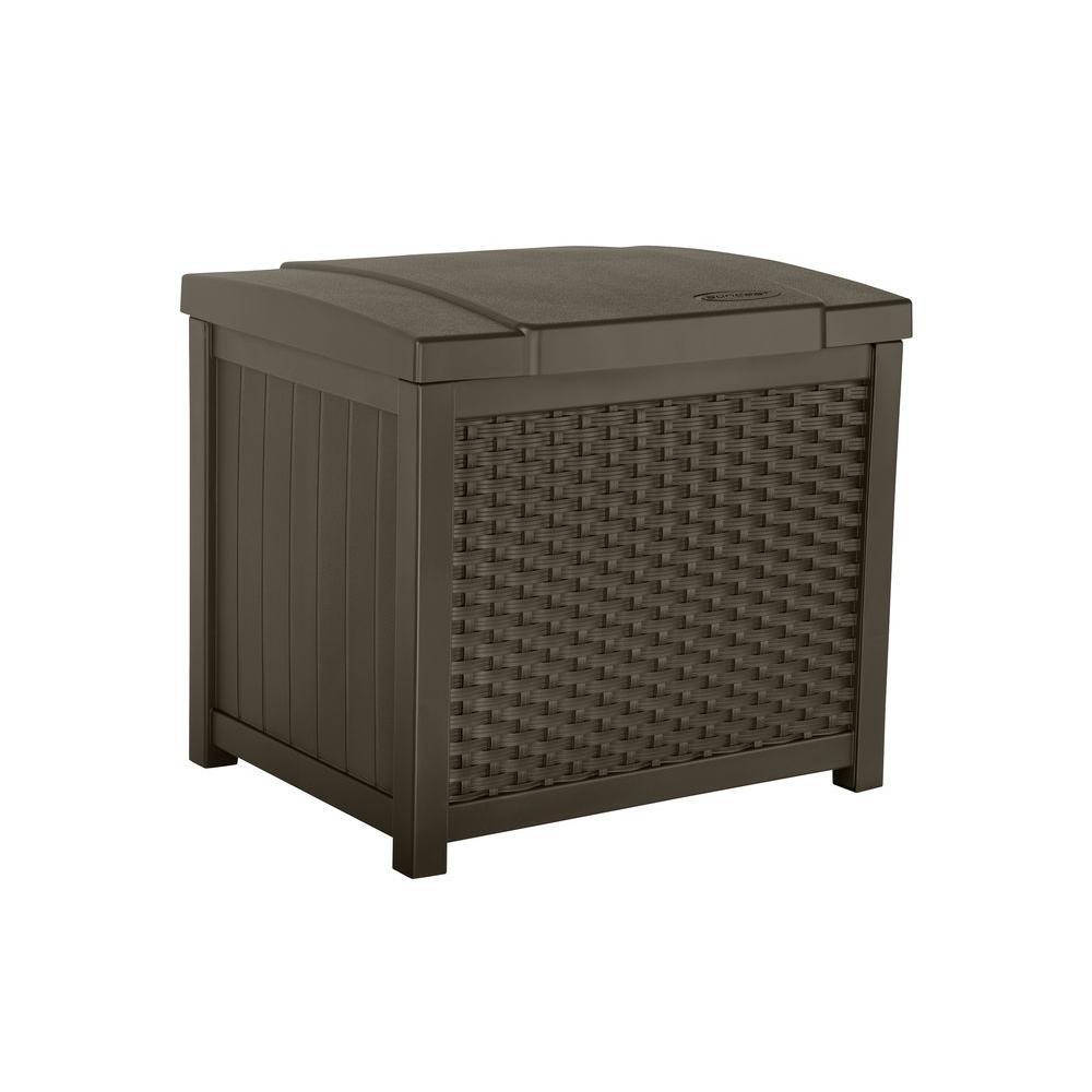 Suncast Wicker 22 Gal Resin Storage Deck Box Ssw900 The