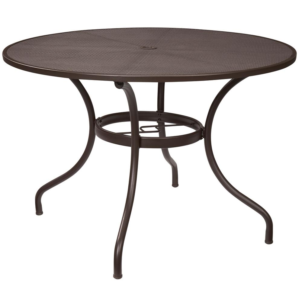 Round Patio Furniture Hampton Bay Mix And Match 42 In Round Mesh Outdoor Patio Dining Table