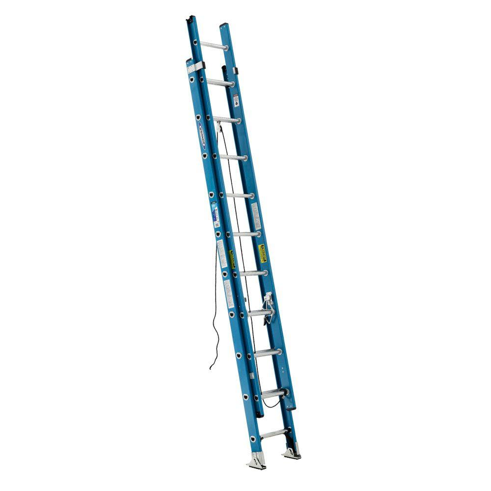 20' Ladder Home Depot Werner 20 Ft Fiberglass Extension Ladder With 250 Lb Load Capacity Type I Duty Rating